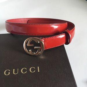 NEW Gucci Leather Interlocking G Belt 70/28 Red